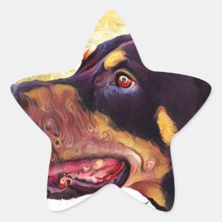 Doberman Swirl Paint 2 Star Sticker