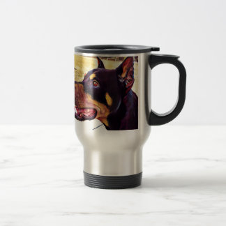 Doberman Swirl Paint 2 Travel Mug