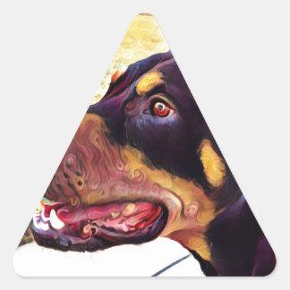 Doberman Swirl Paint 2 Triangle Sticker