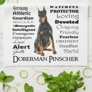Doberman Traits Kitchen Towel