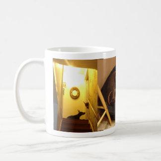 Doberman with puppy coffee mug