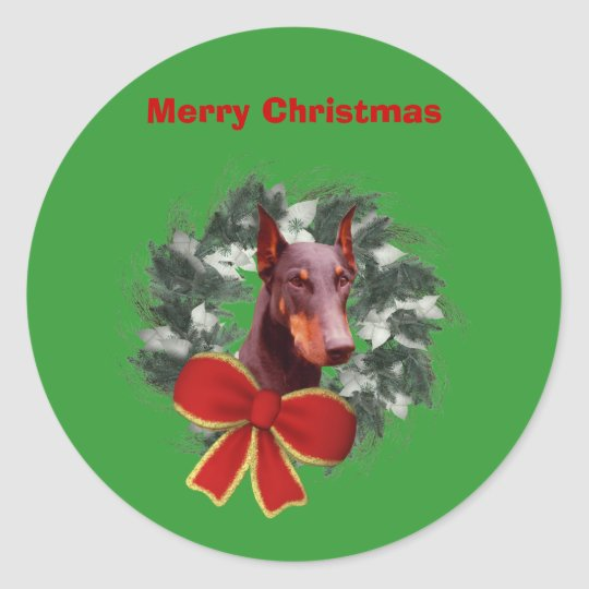 Doberman Wreath Christmas Holiday Sticker Label