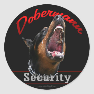 Dobermann Security Classic Round Sticker