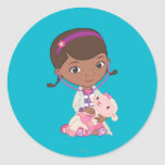 Doc McStuffins Holding Lambie Round Stickers