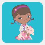 Doc McStuffins Holding Lambie Square Sticker