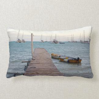 Dock and lobster pots lumbar pillow