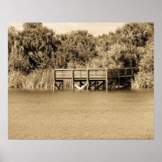 Dock at Fay Lake Florida in Sepia Poster