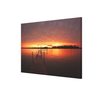Dock at sunset on Lake Minnetonka,MN. Canvas Print