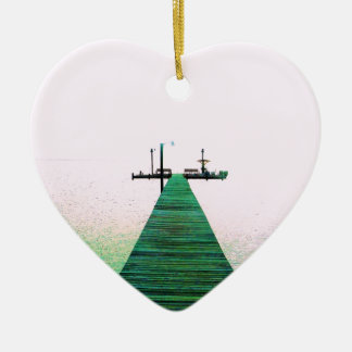 Dock Bay Ocean Calm Texas Coast Ceramic Ornament
