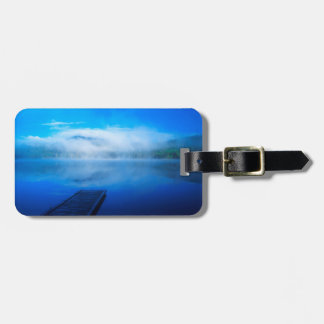 Dock on calm misty lake, California Bag Tag