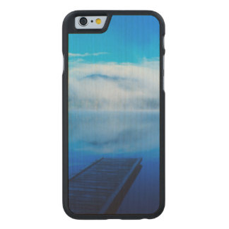 Dock on calm misty lake, California Carved Maple iPhone 6 Case