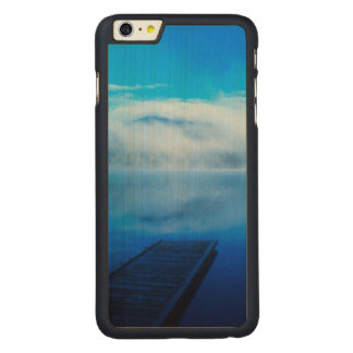 Dock on calm misty lake, California Carved® Maple iPhone 6 Plus Case