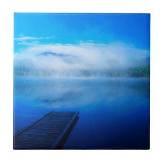 Dock on calm misty lake, California Ceramic Tiles