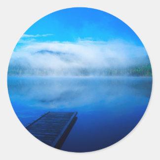 Dock on calm misty lake, California Classic Round Sticker