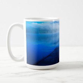 Dock on calm misty lake, California Coffee Mug
