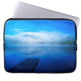 Dock on calm misty lake, California Computer Sleeves