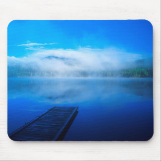 Dock on calm misty lake, California Mouse Pad