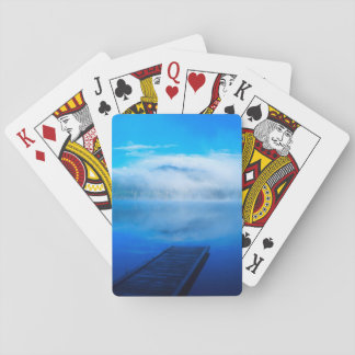 Dock on calm misty lake, California Playing Cards
