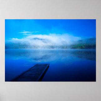 Dock on calm misty lake, California Poster