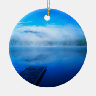 Dock on calm misty lake, California Round Ceramic Ornament
