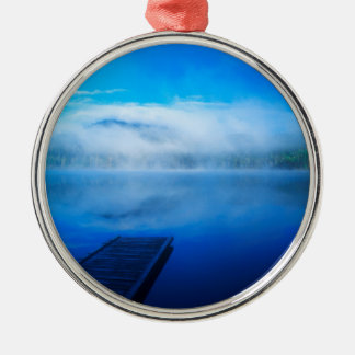 Dock on calm misty lake, California Silver-Colored Round Ornament