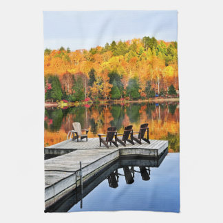 Dock on lake in fall kitchen towel