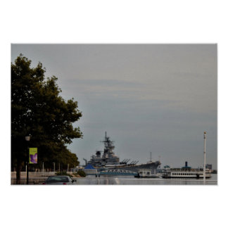 Docked Battleship Photo Poster