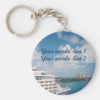 Docked in Nassau Custom Basic Round Button Keychain