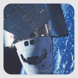 Docked Space Shuttle 3 Square Sticker