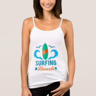 Docker Woman White Strap Surfing Tank Top