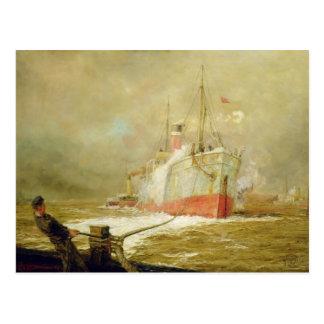 Docking a Cargo Ship Postcard