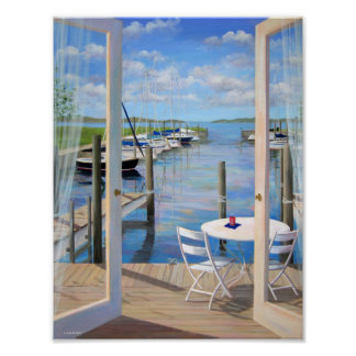 Dockside at the Marina Poster