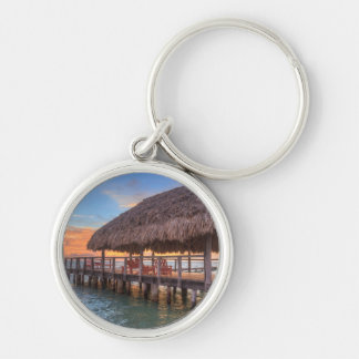 Dockside Sunrise Silver-Colored Round Keychain