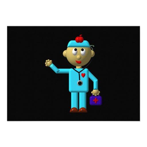 Docteur idiot avec Apple sur sa tête et sac médica Faire-part