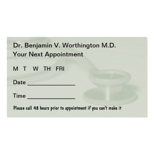 Doctor appointment card template kardasklmphotography doctor appointment card template flashek Images