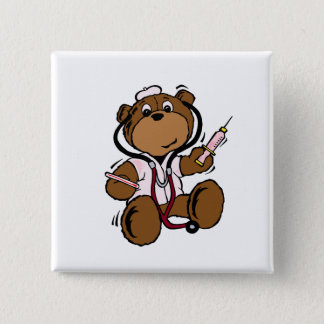 Doctor Bear Lady 2 Inch Square Button
