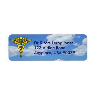 Doctor Caduceus Return Address Label
