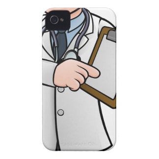 Doctor Cartoon Character Holding Clip Board iPhone 4 Case
