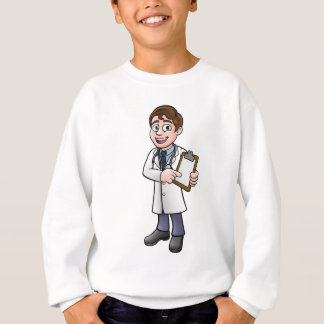 Doctor Cartoon Character Holding Clip Board Sweatshirt