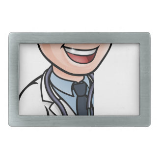 Doctor Cartoon Character Pointing Sign Belt Buckles