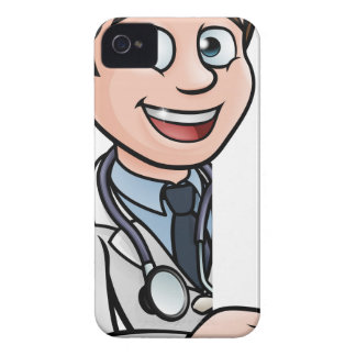 Doctor Cartoon Character Pointing Sign iPhone 4 Case