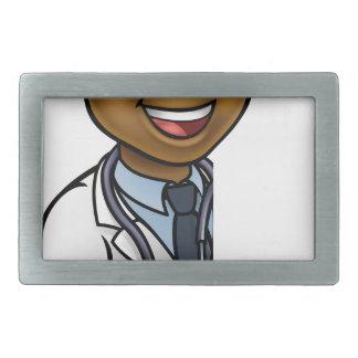 Doctor Cartoon Character Pointing Sign Rectangular Belt Buckle