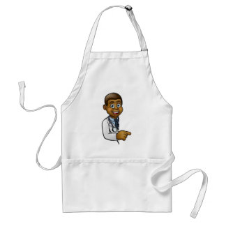 Doctor Cartoon Character Pointing Sign Standard Apron