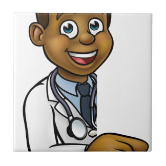 Doctor Cartoon Character Pointing Sign Tile