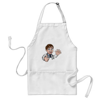 Doctor Cartoon Character Sign Thumbs Up Standard Apron