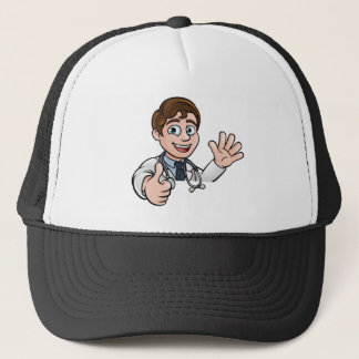 Doctor Cartoon Character Sign Thumbs Up Trucker Hat
