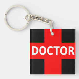 Doctor Double-Sided Square Acrylic Keychain