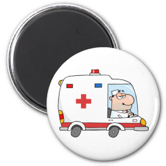 Doctor Driving Ambulance 2 Inch Round Magnet