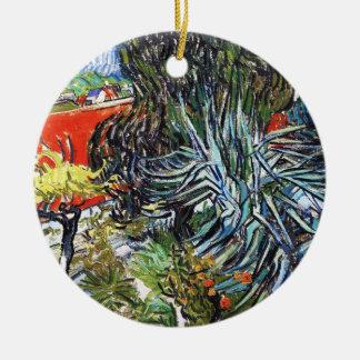 Doctor Gauchet`s Garden in Auvers Vincent van Gogh Round Ceramic Ornament