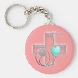 doctor heart basic round button keychain